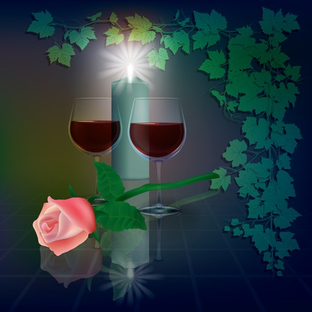 winetasting: abstract illustration with wineglasses and candle on blue