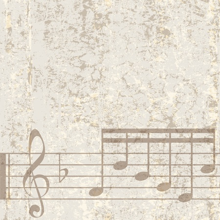 abstract cracked beige background with musical notes Vector