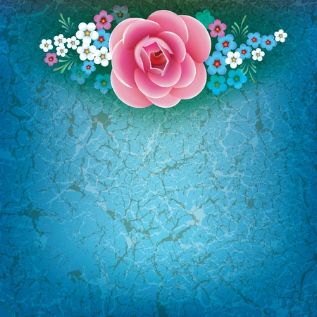 abstract grunge illustration with flowers on dirty blue background Stock Vector - 9289110