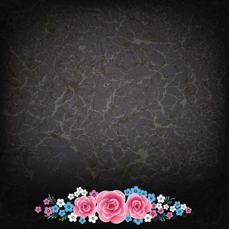 abstract grunge illustration with flowers on dirty black background Stock Vector - 9289111