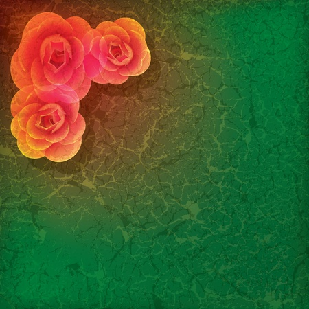 abstract grunge illustration with roses on dirty green background Stock Vector - 9289108
