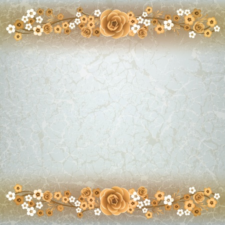 abstract grunge background with flowers on the beige texture Stock Vector - 9310968