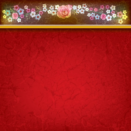 abstract grunge background with flowers on the red texture Stock Vector - 9310967