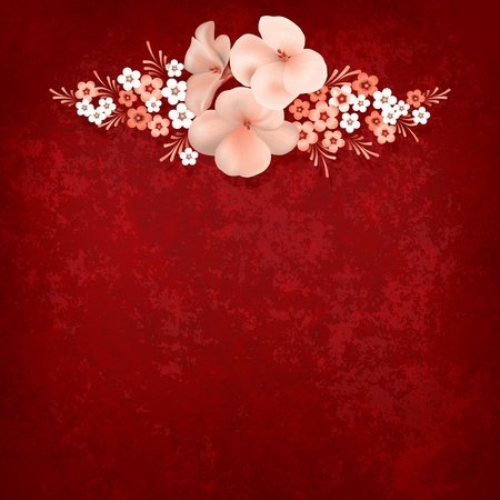 abstract grunge background with flowers on the red Vector
