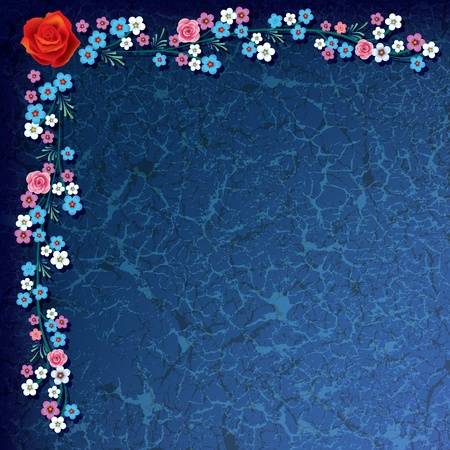 abstract grunge illustration with flowers on blue background Vector