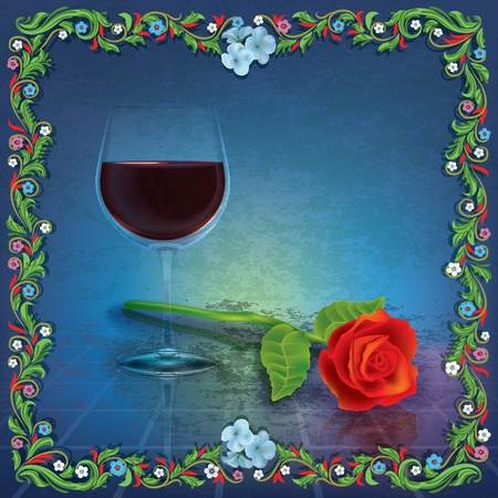 winetasting: abstract grunge illustration with wine glass and red rose