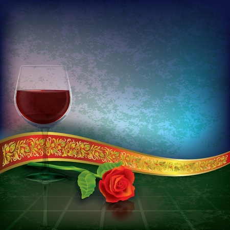 winetasting: abstract grunge illustration with wine glass rose and gift ribbon