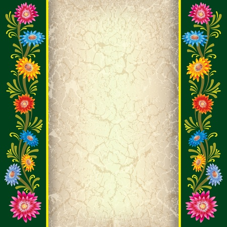 abstract beige background with color flowers on green Vector