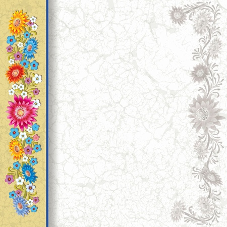 single color image: abstract grunge white background with color flowers on yellow