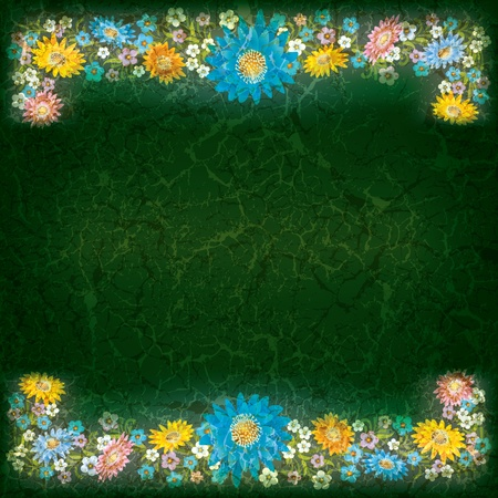 abstract grunge green background with color flowers Vector
