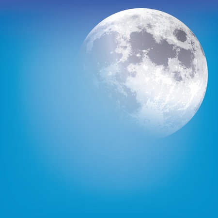 moonrise: abstract background with moon on the blue sky