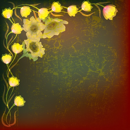 abstract illustration with yellow flowers on grunge brown background Vector