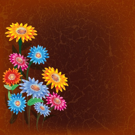 abstract floral illustration with color flowers on cracked brown background Vector