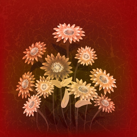 abstract floral illustration with flowers on cracked brown background Vector