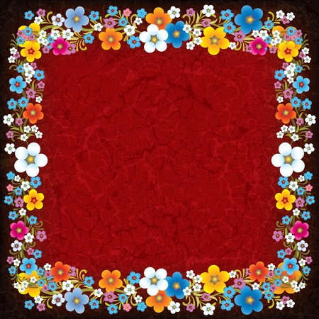 abstract grunge background with flowers on cracked red Vector