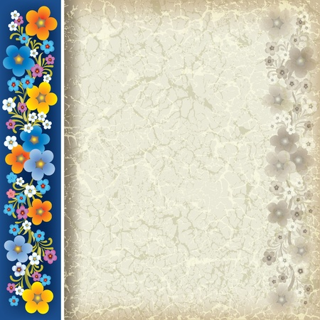 abstract grunge beige background with flowers on blue Vector