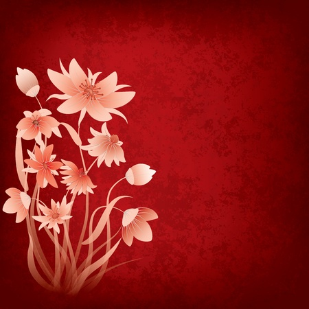abstract grunge composition with flowers on red background Illustration