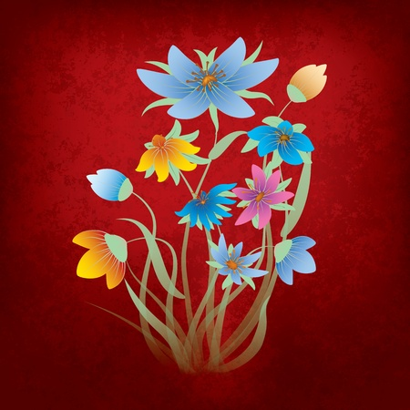 abstract grunge composition with flowers on red Vector