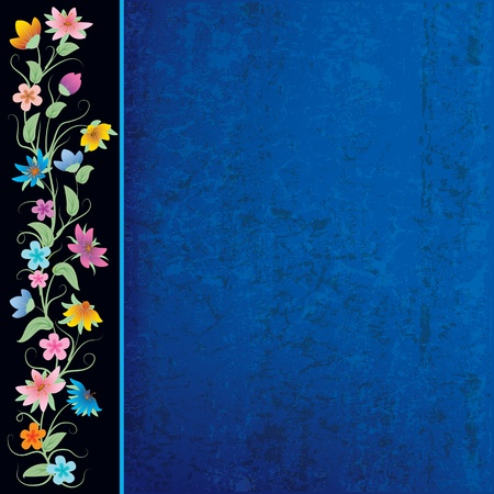 abstract blue grunge background with flowers on black Vector