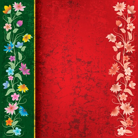 abstract red grunge background with flowers on green Vector