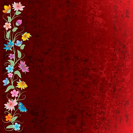 abstract grunge floral background with flowers on brown Vector