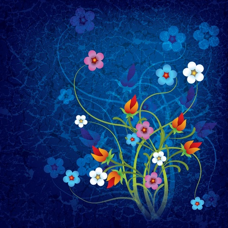 abstract grunge floral background with flowers on dirty blue Vector