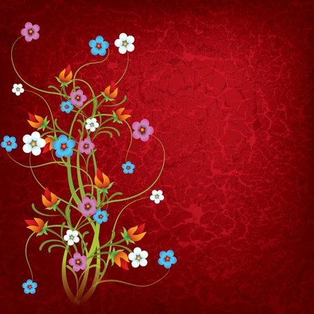 abstract grunge floral background with flowers on dirty red Vector