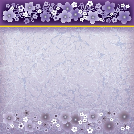 spotted: abstract grunge purple background with spring flowers Illustration
