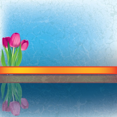 abstract floral illustration with tulips on cracked blue background Vector