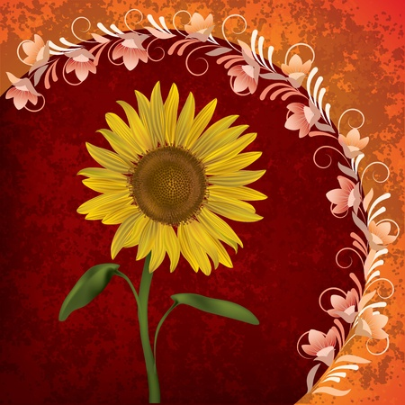 abstract grunge floral background with sunflower on red Vector