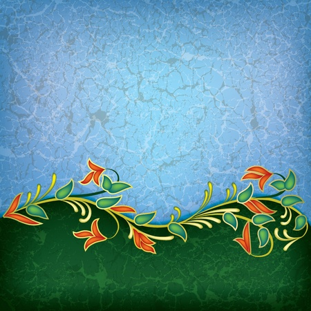abstract grunge floral ornament on blue background Vector
