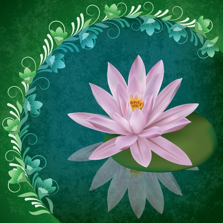 spotted flower: abstract grunge illustration with lotus on cracked green background