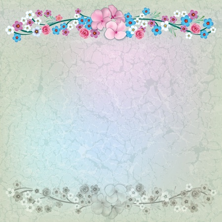 floral illustration with color flowers on cracked beige background Vector
