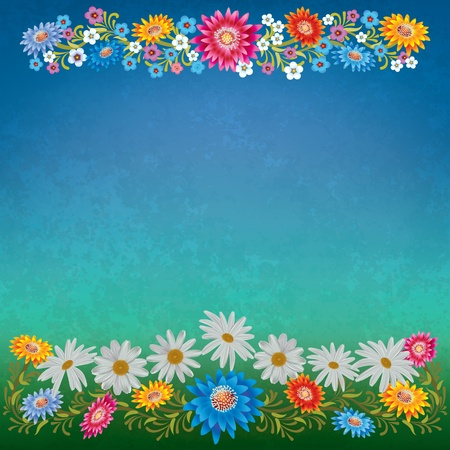 single color image: abstract grunge floral background with color flowers on blue