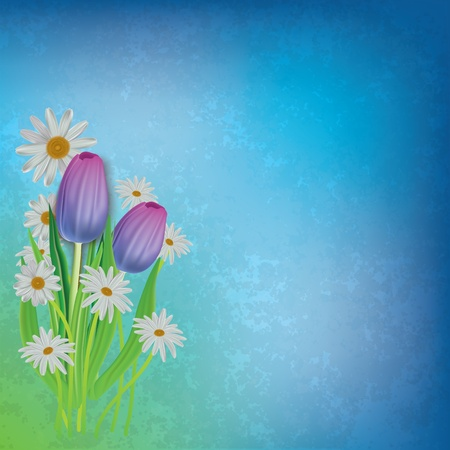 art painting: abstract grunge floral background with tulips and chamomiles Illustration