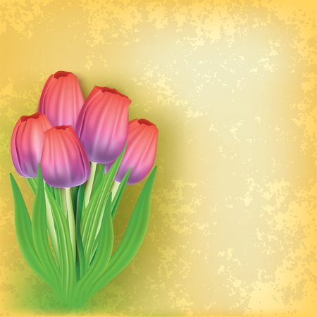 single color image: abstract grunge floral background with tulips on yellow