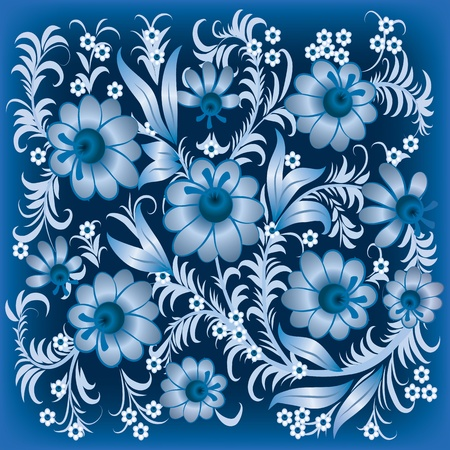 abstract floral ornament with flowers on blue Stock Vector - 9567133