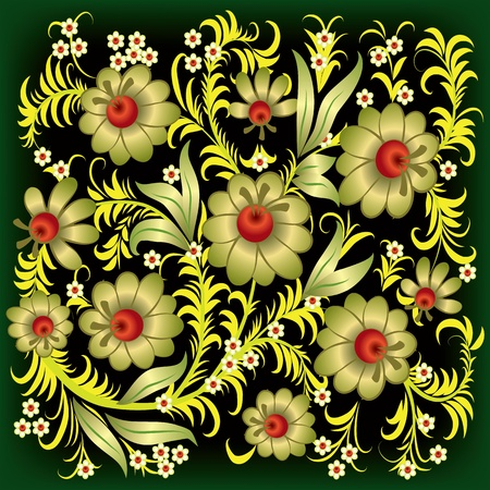 abstract floral ornament with gold flowers on black Stock Vector - 9567136