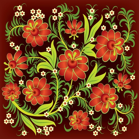 abstract floral ornament with red flowers on brown Stock Vector - 9567134