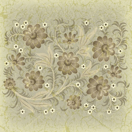 abstract grunge floral ornament with flowers on beige Vector