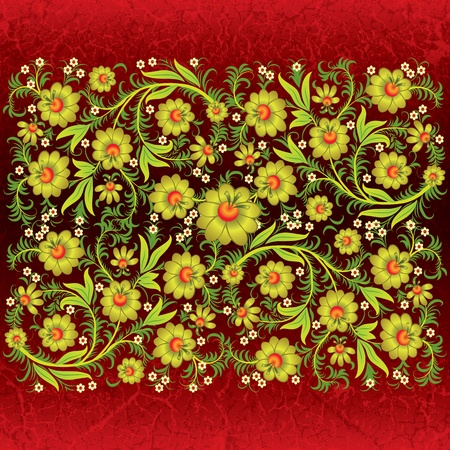 abstract grunge floral ornament with gold flowers on red Stock Vector - 9567153