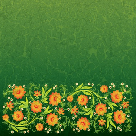 abstract grunge floral ornament with orange flowers on green Stock Vector - 9567146