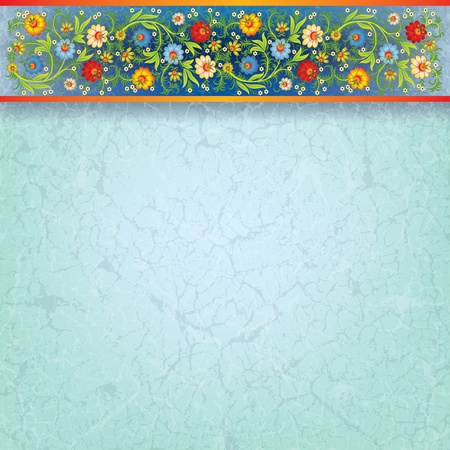 abstract floral ornament on grunge blue background Stock Vector - 9567158