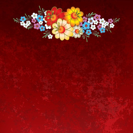 abstract grunge background with flowers on a red Vector