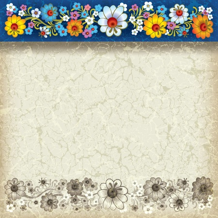 abstract grunge beige background with floral ornament on blue Vector