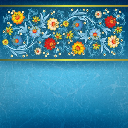 abstract floral ornament with flowers on grunge blue background Vector