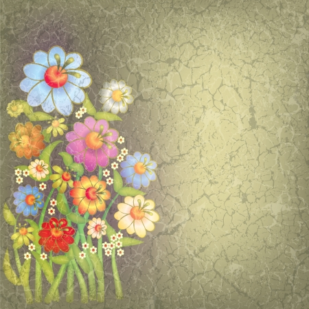 abstract floral illustration with flowers on grunge background Stock Vector - 9567166