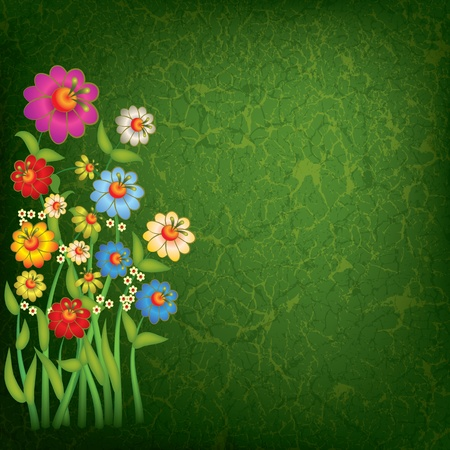 abstract floral illustration with flowers on grunge green background Vector