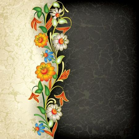 color�: Abstract grunge ornement floral sur fond noir Illustration