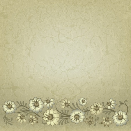 floral scroll: abstract vintage background with floral ornament on beige Illustration